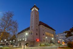 Hôtel de ville du secteur 1, Roumanie, Banu Manta de Bucarest image libre de droits