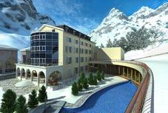Hôtel en montagne avec la neige et une piscine. Photos stock