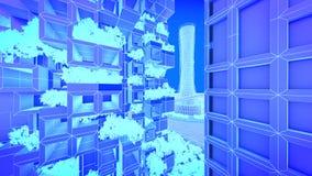 hôtel Futur horizon de ville de concept Concept futuriste de vision d'affaires illustration 3D Photo stock