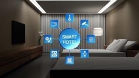 Hôtel, lumière de pièce de lit de Chambre sur outre de l'icône économiseuse d'énergie de paramètres d'efficacité, contrôle à la m illustration libre de droits