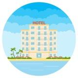 Hôtel, un hôtel blanc sur la plage Hôtel de tourisme illustration de vecteur