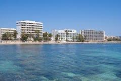 Hôtels de Cala Bona, île de Majorca, Espagne Photos libres de droits