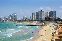 Hôtels de luxe et plage, téléphone Aviv-Yafo, Israël Image libre de droits