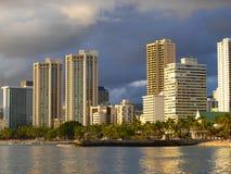 Hôtels en plage de Honolulu Hawaï Waikiki image stock