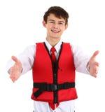 Hôtesse d'air avec le gilet de sauvetage Photographie stock