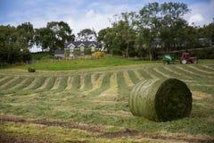 Hö Irland, landskap, bana, stjälk, traktor, hus, by, lantgård, banor Arkivfoto