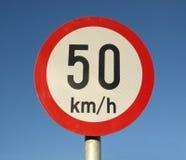 Höchstgeschwindigkeitzeichen Stockfoto