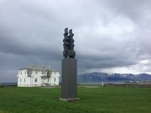 Höfði House in Reykjavik, Iceland, on a cloudy day. A view of Höfđi House in Reykjavik that once housed the French consulate but is best known for hosting Royalty Free Stock Images
