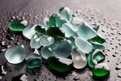 Höft av våta exponeringsglasstycken polerade av havet Royaltyfri Fotografi