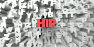 HÖFT - Röd text på typografibakgrund - 3D framförde fri materielbild för royalty stock illustrationer