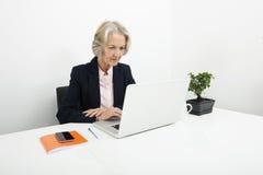 Hög affärskvinna som i regeringsställning använder bärbara datorn på skrivbordet Arkivfoton