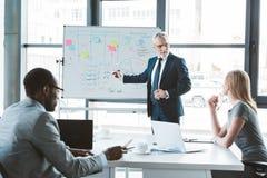 hög affärsman som pekar på whiteboarden med grafer och diagram, medan diskutera affärsprojekt royaltyfri foto