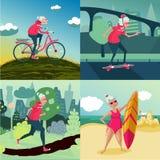 Hög aktivitet för utomhus- sport för vuxen kvinna Genomkörare på naturen Kvinnlig utbildning på avgång Sund livsstil stock illustrationer