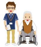 Hög anhörigvårdare och hög man som använder rullstolen stock illustrationer