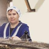 Hög arbetare i fabriksdamm Royaltyfri Foto