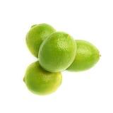 Hög av åtskilliga mogna limefrukter, isolerad sammansättning Fotografering för Bildbyråer