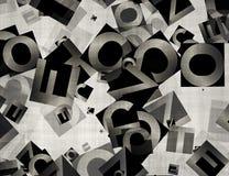 Hög av abstrakta kaotiska alfabetbokstäver Fotografering för Bildbyråer