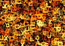 Hög av abstrakta kaotiska orange alfabetbokstäver Royaltyfri Foto