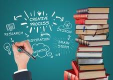 Hög av böcker med vita designklotter och handen med pennan mot krickabakgrund Royaltyfria Foton