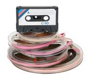 Hög av bandrullar och kassetten Royaltyfria Bilder