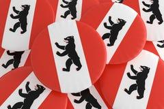 Hög av Berlin Flag Buttons, illustration 3d vektor illustrationer