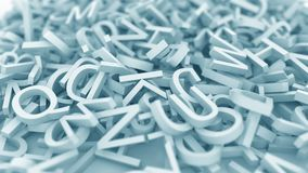 Hög av blåa bokstäver Begreppsmässig animering 3D vektor illustrationer