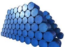 Hög av blåa trummor Arkivfoto