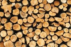 Hög av den cuted wood stubben, frunchtextur Arkivbilder