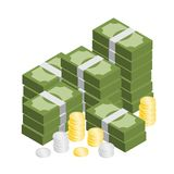 Hög av den isometriska vektorn för pengar och för mynt Royaltyfri Fotografi