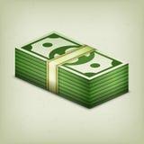 Hög av den kontanta dollaren för pengarbunt på grå färger royaltyfri illustrationer