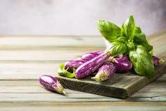 Hög av den lilla aubergine eller aubergineet Royaltyfri Fotografi