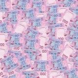 Hög av den ukrainska pengarhryvniaen, valör av 200 UAH Arkivfoto