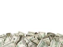 Hög av 100 dollarräkningar på vit bakgrund Fotografering för Bildbyråer