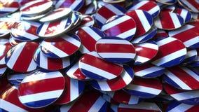 Hög av emblem som presenterar flaggor av Costa Rica framförande 3d arkivfoto