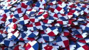 Hög av emblem som presenterar flaggor av Panama, tolkning 3D royaltyfria bilder