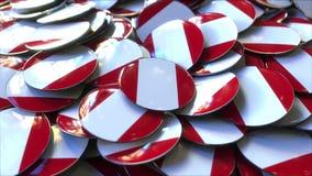 Hög av emblem som presenterar flaggor av Peru framförande 3d arkivfoton