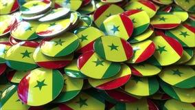 Hög av emblem som presenterar flaggor av Senegal, tolkning 3D royaltyfria foton