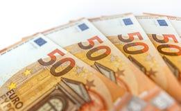 Hög av euro 50 som bakgrundsslut upp Arkivfoto