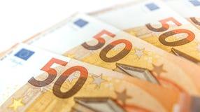 Hög av euro 50 som bakgrundsslut upp Royaltyfria Bilder