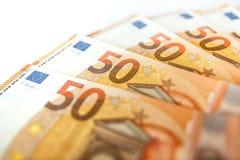 Hög av euro 50 som bakgrundsslut upp Arkivbild