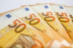 Hög av 50 euroanmärkningar - affärsbakgrund Royaltyfria Foton