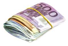 Hög av eurosedlar Arkivbilder
