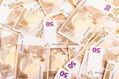 Hög av eurosedlar Arkivfoto