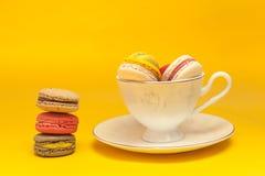 Hög av färgrika macarons som staplas upp i den vita klassiska koppen in royaltyfri foto