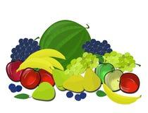 Hög av frukt på en genomskinlig bakgrund Arkivbilder