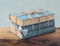 Hög av gamla blåa böcker Royaltyfri Fotografi