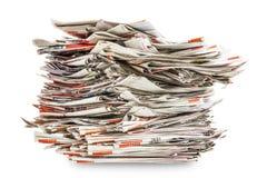 Hög av gamla hopfällbara tidningar Fotografering för Bildbyråer