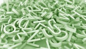 Hög av gröna bokstäver Begreppsmässig animering 3D vektor illustrationer