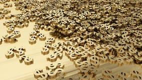 Hög av guld- dollarsymboler Arkivfoto