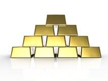 Hög av guldtackor Arkivbilder